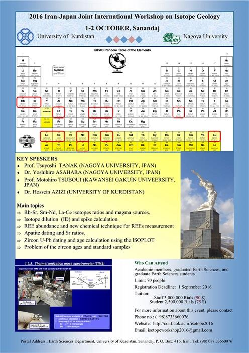 2016 Iran-Japan International Workshop on Isotope Geology